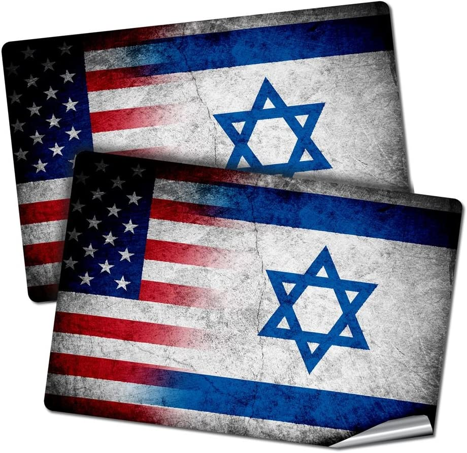 "ExpressItBest Two 2""x3"" Decals/Stickers with Flag of Israel - Rustic w USA Flag - Long Lasting Premium Quality"