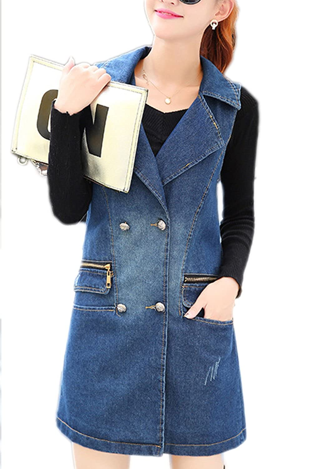 Women Casual Sleeveless Double Breasted Midi Loose Denim Jacket Vest Outcoat Outwear CAFZ1065
