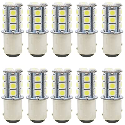 JAVR - Pack of 10-6500K White 1157 2057 2357 7528 BAY15D LED Bulbs 5050 18-SMD Replacement Lamps for 12V Interior RV Camper Trailer Lighting Back Up Reverse Lights or Tail Brake Lights: Automotive