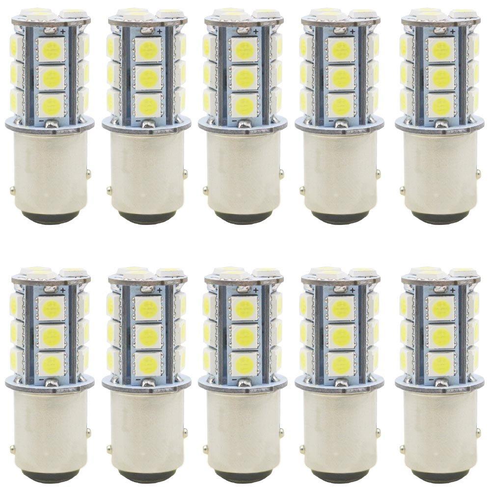JAVR - Pack of 10 - Warm White 3000K 1142 BA15D LED Bulbs 5050 18-SMD Replacement Lamps 12V Interior RV Camper Trailer Lighting Boat Yard Light Brake Tail Bulbs Defansy