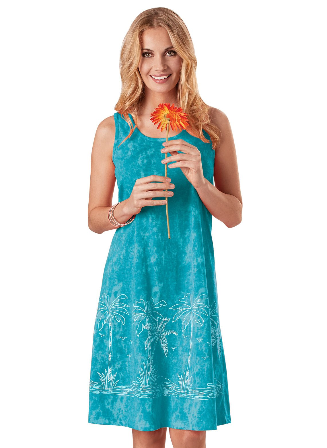 Carol Wright Gifts Dress Tropical Tank, Color Turquoise, Size Extra Large (3X), Turquoise, Size Extra Large (3X)