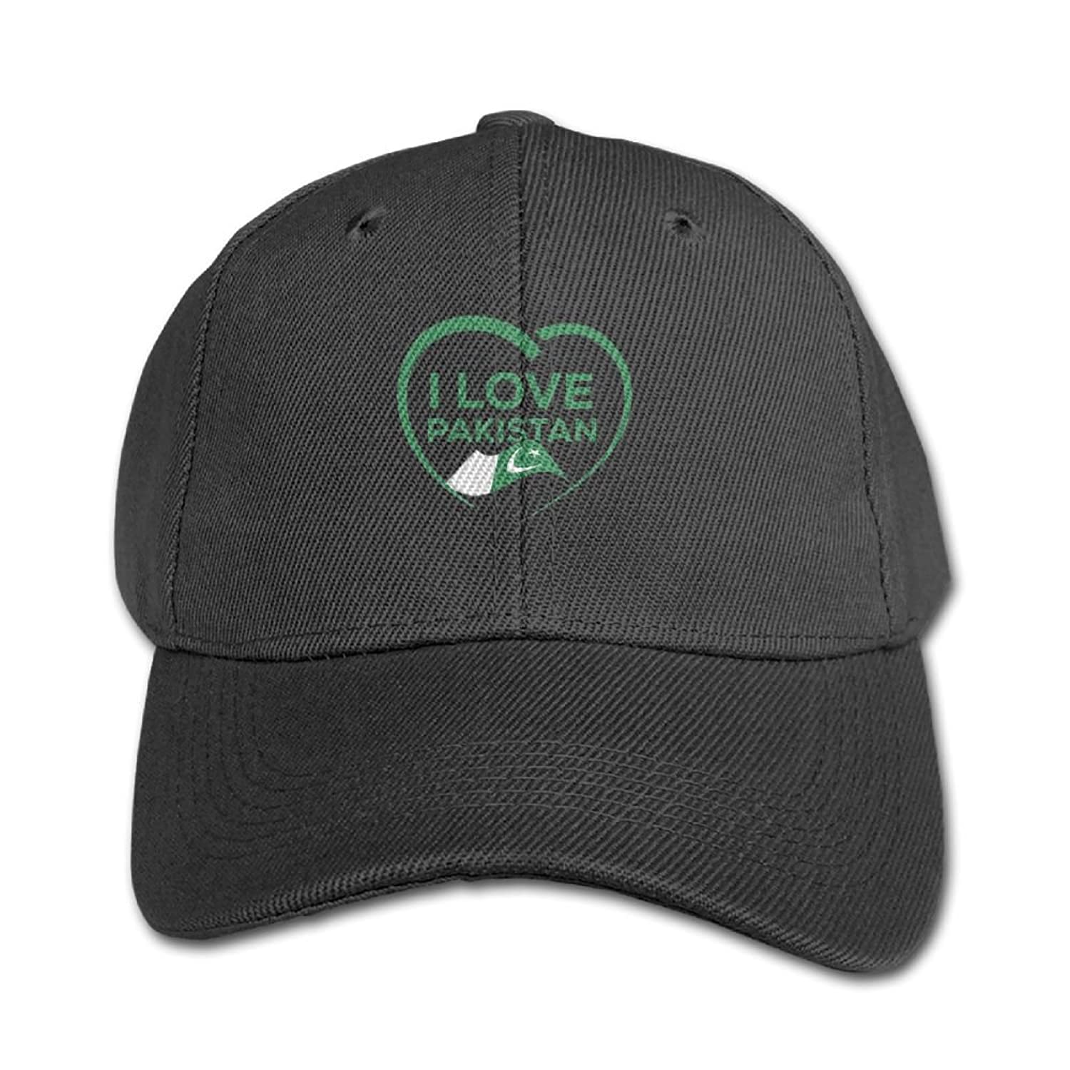 I Love Pakistan with Outline of Heart and Flag Unisex Design 100% Cotton Snapback Hip-Hop Hat Flat Peaked Baseball Cap Adjustable Cap Hat for Boy &Girl Navy on sale