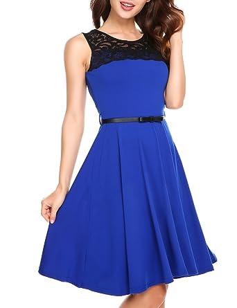 Zeagoo Damen Ärmellos Kleider Spitzenkleid Knielang Ballkleid Festliches  Kleid Abendkleid Partykleid A-Linie mit Gürtel  Amazon.de  Bekleidung 438dd60e10