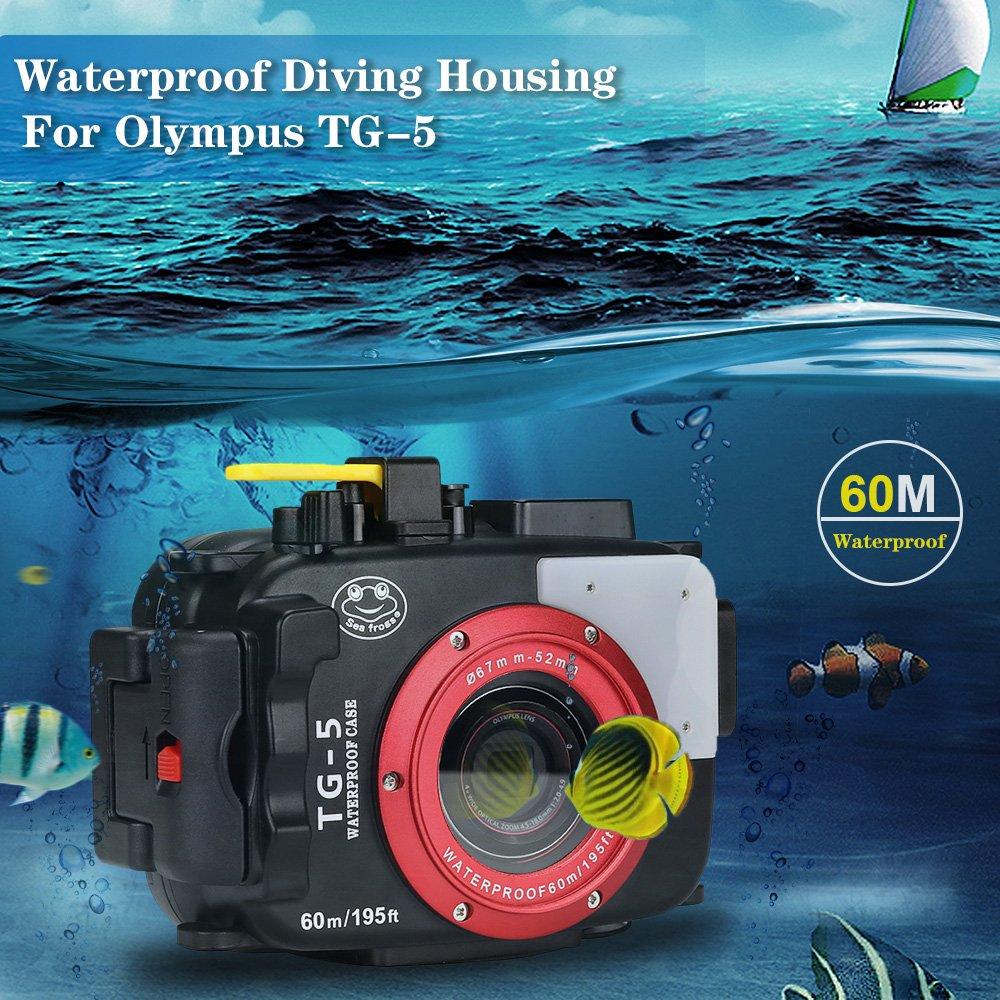 Sea Frogs 195ft 60m Underwater Camera Waterproof Diving Olympus Tough Tg 5 Black Kamera Housing For Red Filter Photo