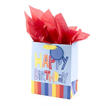 Amazon Hallmark Medium Birthday Gift Bag With Tissue Paper Colorful Stripes Kitchen Dining