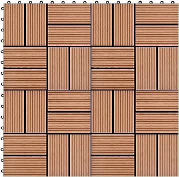 Azulejos de jardín de WPC, 11 unidades, 1 m2, suelo para exterior empotrado, baldosas para Decking, baldosas de jardín para pavimentación exterior terraza, 30 x 30 cm, marrón: Amazon.es: Bricolaje y herramientas