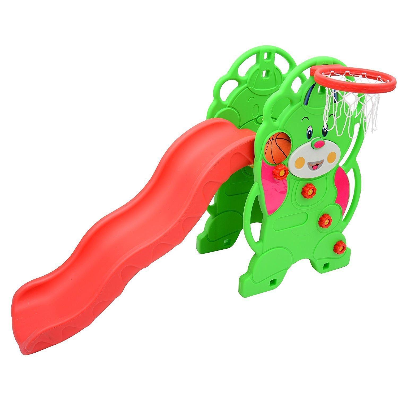 homcom 54-0023 - Spielzeug Slide Gartenrutsche mit Basketball-Korb