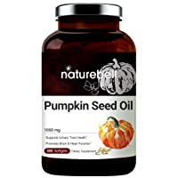 Maximum Strength Pumpkin Seed Oil Capsules 1000mg, 300 Liquid Soft-gels, Cold Pressed, Rich in Omega 3 6 Essential Fatty Acids, No GMOs and Made in USA