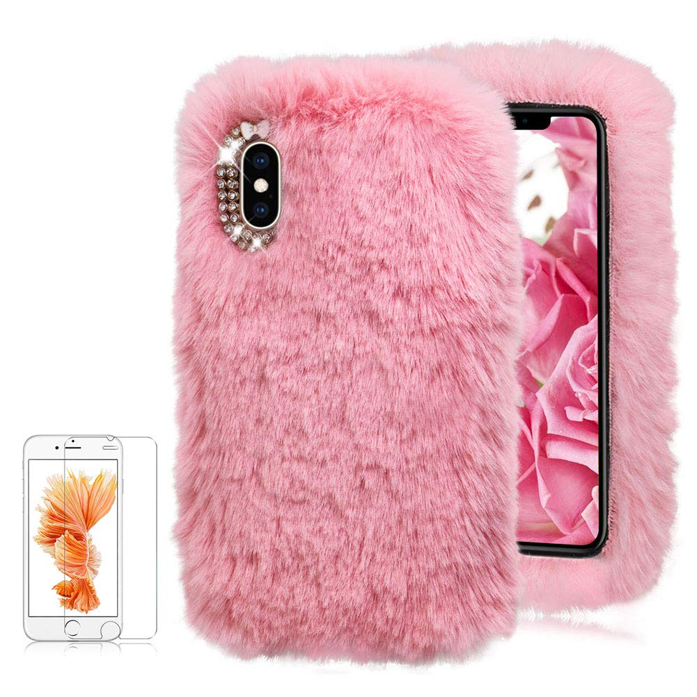 For iPhone 6/iPhone 6S Soft Warm Plush Case [with Free Screen Protector], Funyee Artificial Fluffy Villi Wool Cute Plush Soft Silicone TPU Case for iPhone 6/iPhone 6S with Shiny Diamond, Rose Red Funyye iPhone 6/iPhone 6S 4.7 inch