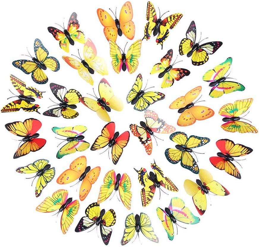 YWLINK 30 UNID 3DDIY Pegatinas De Pared DecoracióN para El Hogar Pegatinas De Mariposa Arco Iris DecoracióN De La HabitacióN Puertas Armarios ...