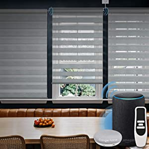 Graywind Motorized Zebra Sheer Shade Compatible with Alexa Google WiFi Smart Home Hardwired Plug-in Horizontal Window Blinds Window Shades Light Filtering Window Blinds, Customized Size Grey