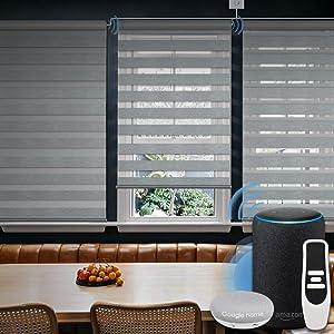 Graywind Motorized Zebra Sheer Shade Compatible with Alexa Google WiFi Smart Home Hardwired Plug-in Horizontal Window Blinds Window Shades Light Filtering Window Blinds, Customized Size Grey