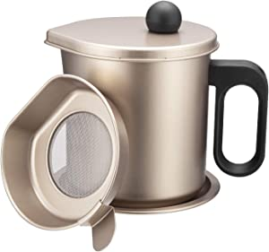 Bacon Grease Container with Strainer-1.7L Oil Pot with Fine Mesh Strainer, Stainless Steel Grease Strainer, for Cooking Oil, Frying Oil Container (Champagne Gold)