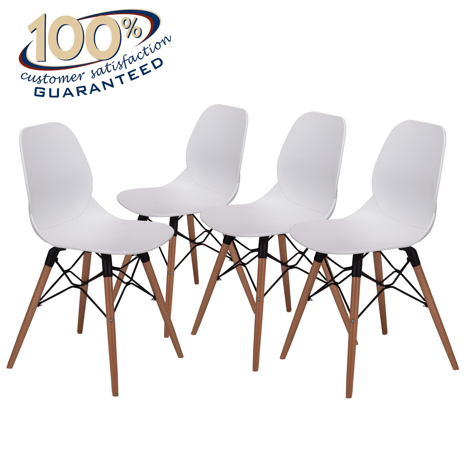 LCH 17.8 Inch Height Modern Dining Chairs - Mid Century Eames Style Chairs - Sturdy Wooden Legs Chairs, 300 lbs Capacity, Upgraded Base, White, Set of 4