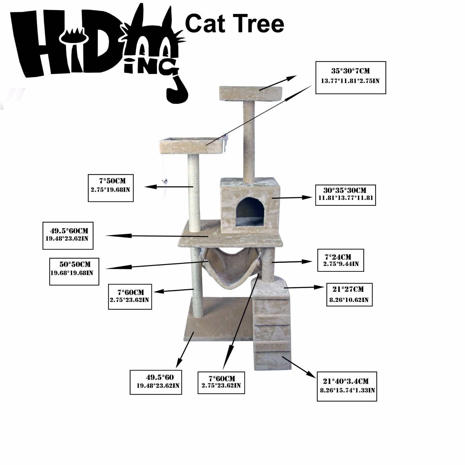 Hiding Nice Cat Tree Tower Condo Furniture Scratch Post Kitty Pet House Play Furniture Sisal Pole Stairs and Hammock, 29.92'' L, Beige by Hiding (Image #3)
