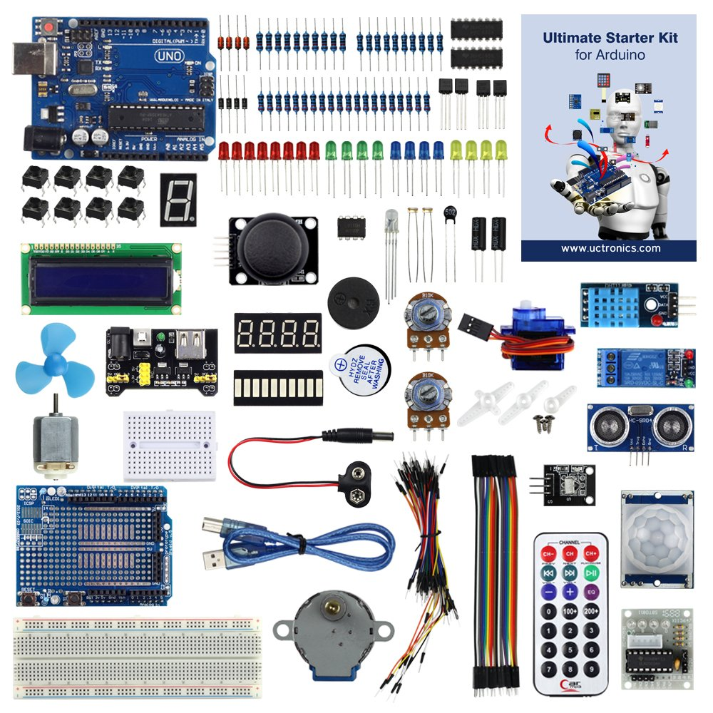 UCTRONICS Advanced Starter Kit for Arduino with Instruction Booklet, UNO R3, UNO R3 Proto Shield V3,Relay, Breadboard Power Supply, SG90 9g Servo, Remote Controller and IR Receiver by UCTRONICS