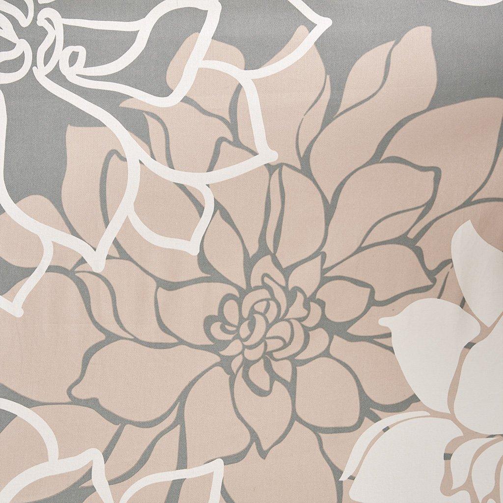 Madison Park Lola 100% Cotton Sateen Floral Printed Modern Cute Bathroom Shower Curtain, 72X72'' Inches, Blush
