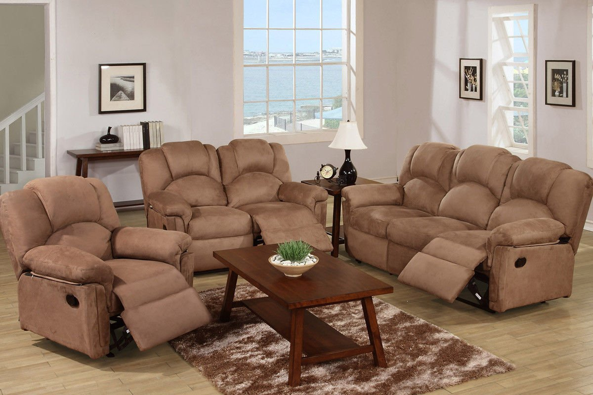 amazoncom poundex f6687f6688f6689 saddle microfiber fabric sofa set with recliners kitchen dining - Entire Living Room Furniture Sets