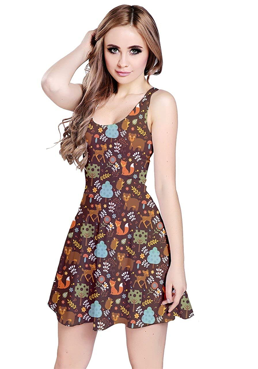 Brown CowCow Womens Thanksgiving Autumn Woodland Animals Leaves Owls Sleeveless Dress, XS5XL