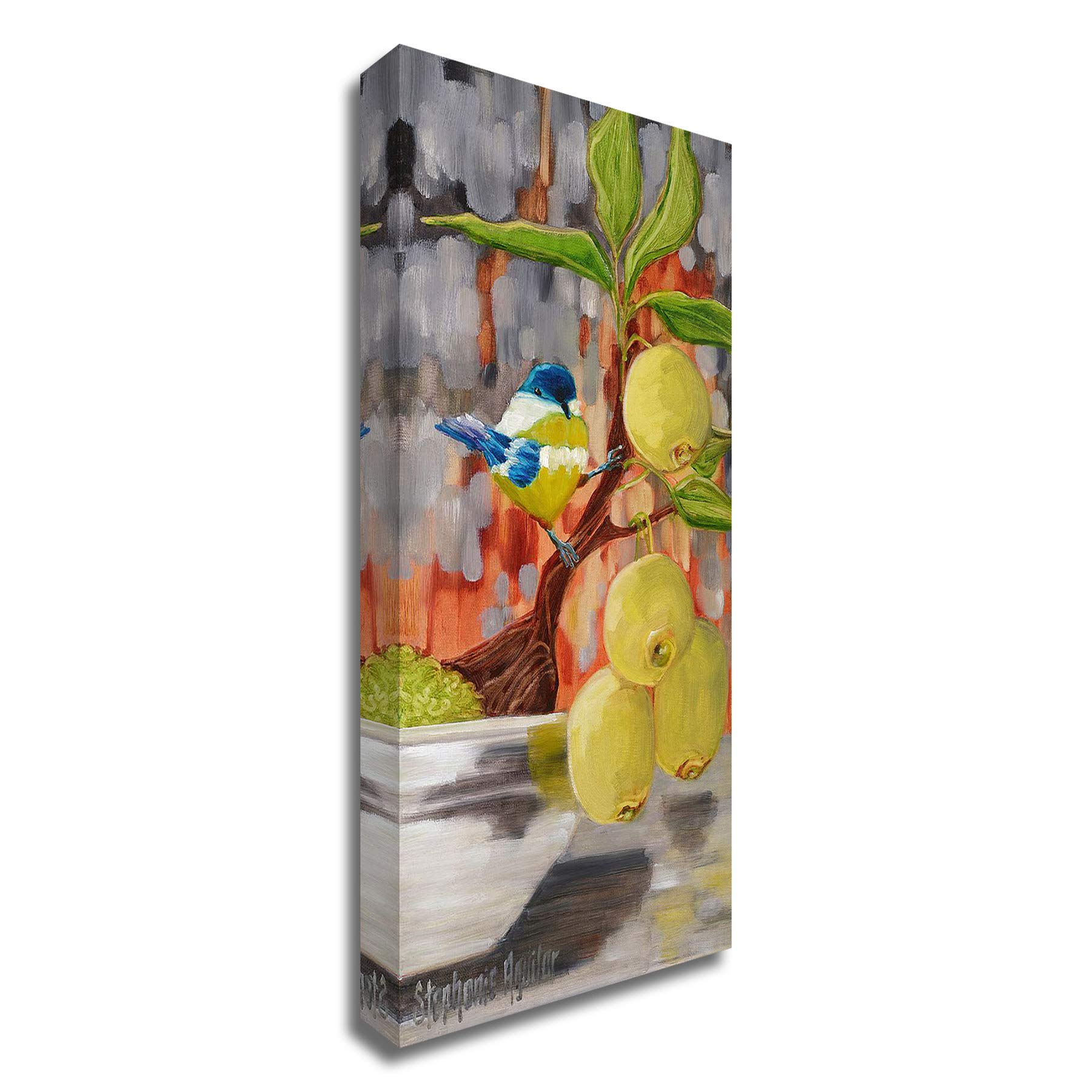 Tangletown Fine Art Chickadee with Bonsai Canvas Art 18x36 Gray, Green, Blue