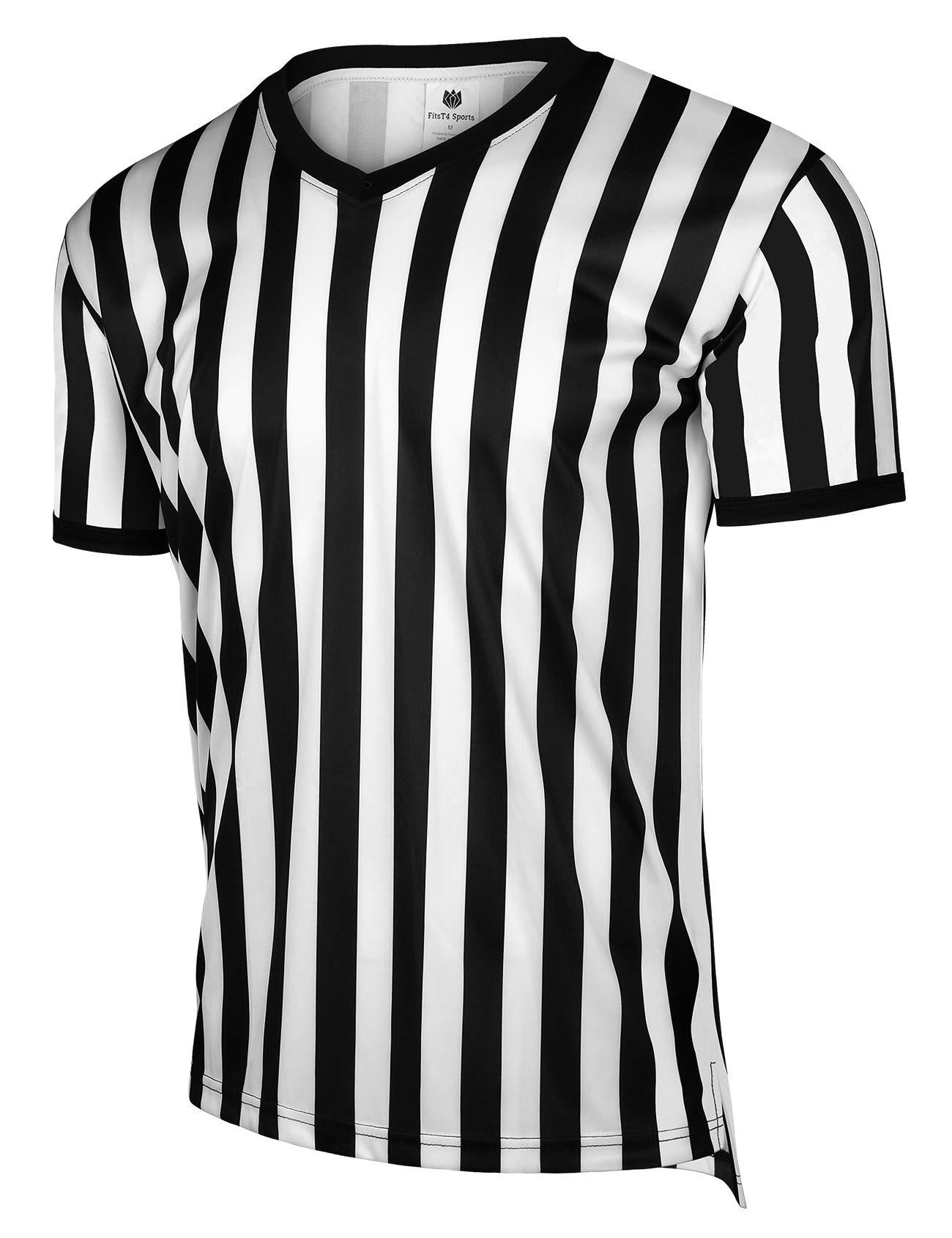 FitsT4 Men's Official Black & White Stripe Referee Shirt/Zipper Umpire Jerseys/Pro Ref Uniform for Soccer, Basketball & Football