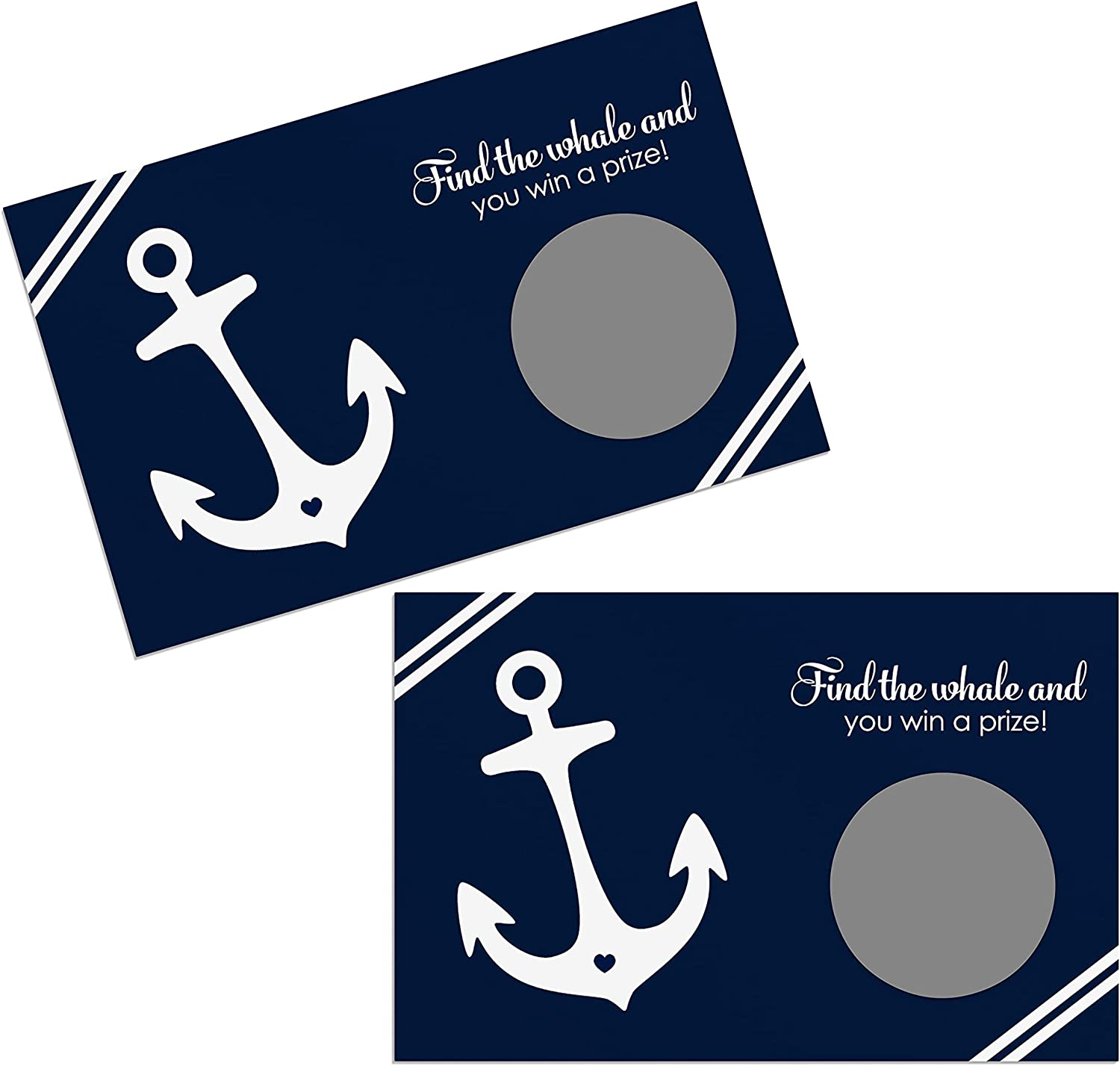 Nautical Scratch Off Game Cards (28 Pack) Bridal Shower, Boys Baby Shower, Graduation, Retirement – Raffle Tickets for Drawing Prizes Anchor Party Theme