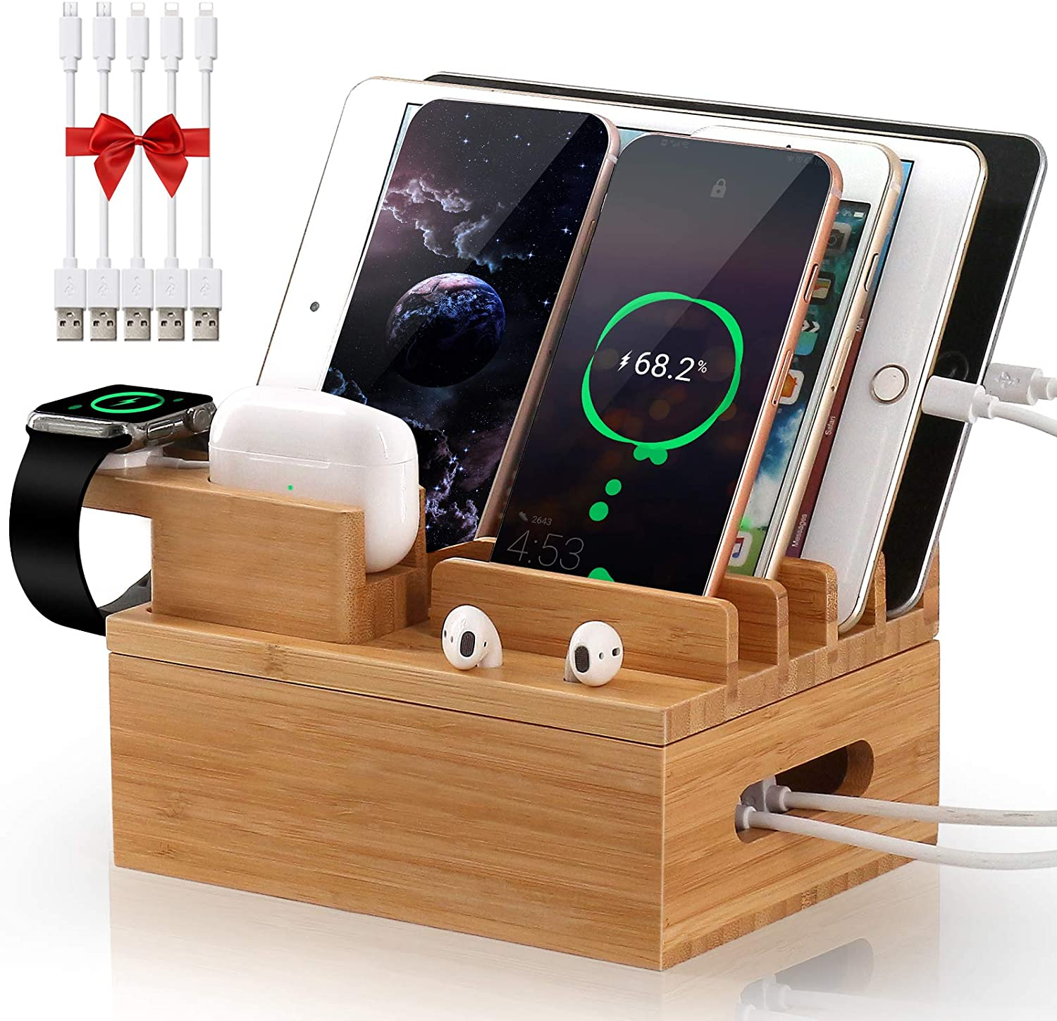 Pezin & Hulin Bamboo Charging Station for Multiple Devices, Desktop Docking Station Organizer for Apple Product, AirPods, iWatch, Cellphone, Tablet, (Included 5 Charging Cables, No Power Supply)