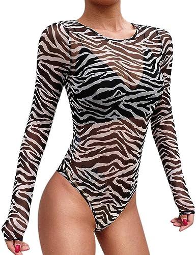 Body Sexy de Malla Transparente Corte Ajustado Bodysuit Blusa Top Elegante Leotardo Mono Delgado de Manga Larga con Cuello Redondo para Mujer: Amazon.es: Ropa y accesorios