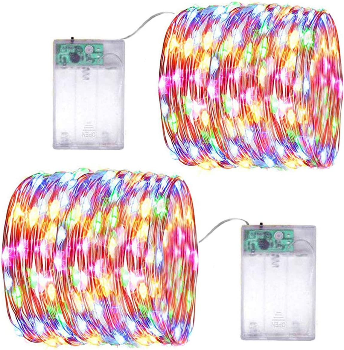 LiyuanQ Battery Operated String Lights, 2 Pack Led Mini String Lights 50 LED 16.5 FT Battery Powered Sliver Wire Starry Fairy Lights for Indoor Outdoor Wedding Home Garden Party Decor (Multi Color)