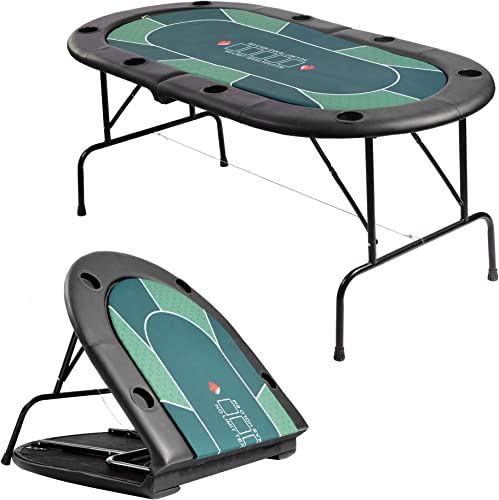 LUCKYERMORE Folding Poker Table 2 in 1 Poker Table Top for 8 Players w Cup Holder
