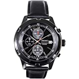 Seiko Mens Black Leather Strap Chronograph Sport Watch SKS439