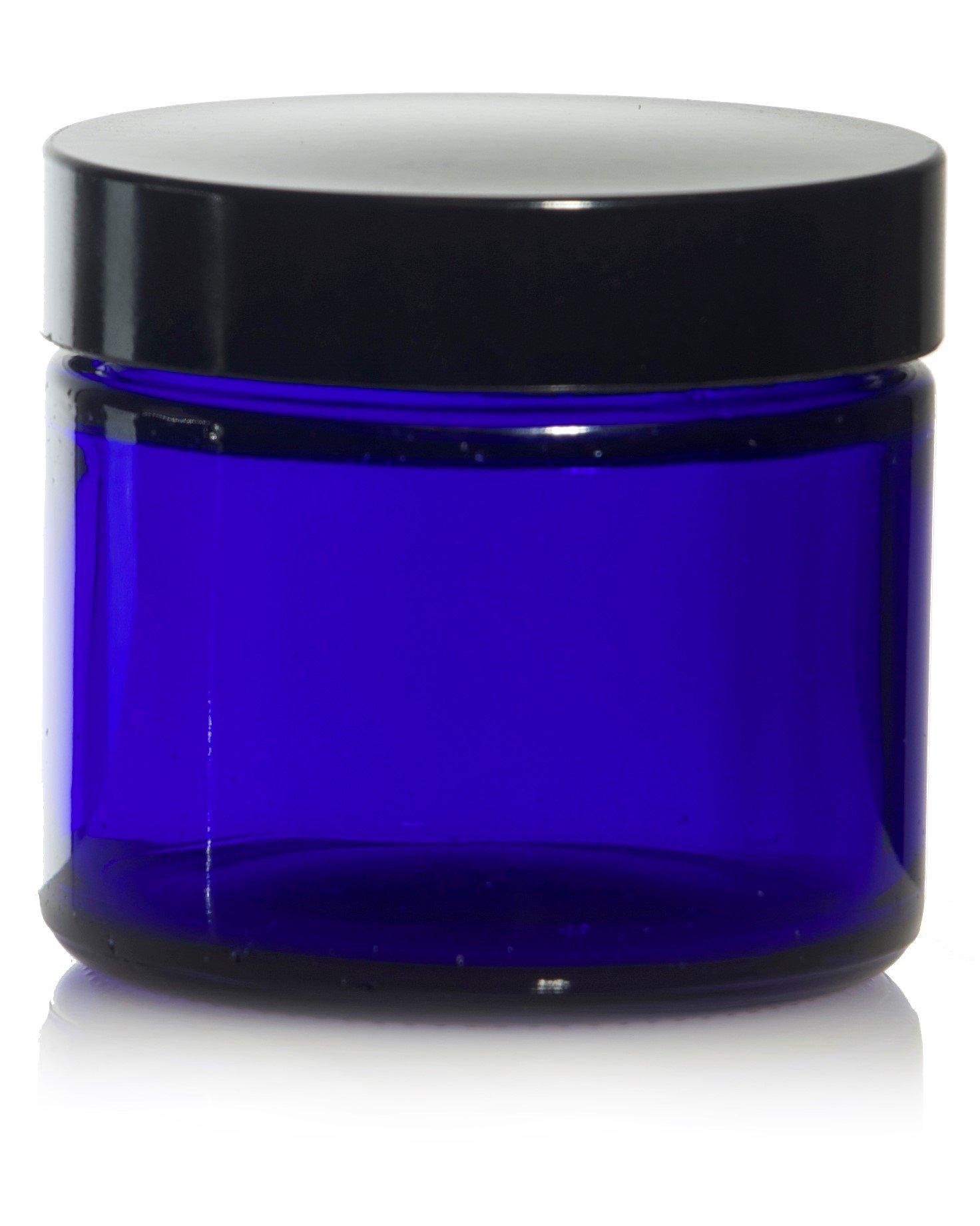 2 Oz ( 60 ml ) Blue Glass Jars w/ Black Smooth Foam lined Caps (144)