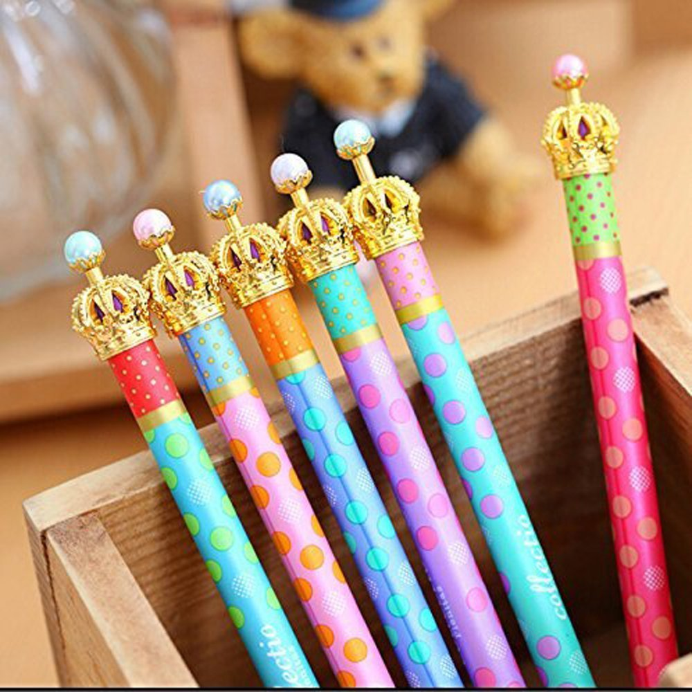 12 Pack Gel Ink Crown Pens Lovely Cute Colorful Polka Dots Korean Style Rollerball Roller Ball Pen Fine Point Creative Stationery for Artist School Office Family Use,Black Ink