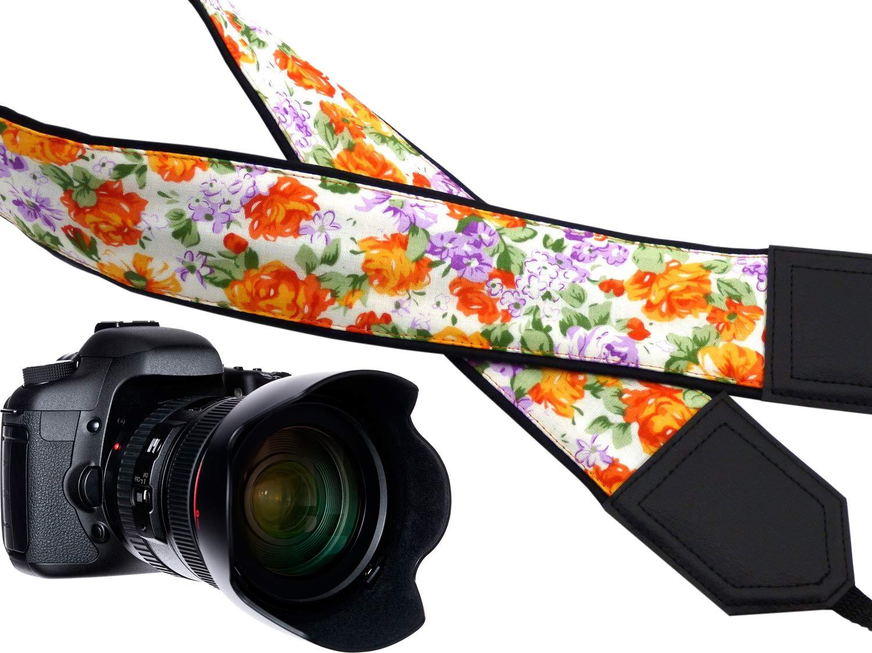 カメラストラップ花。オレンジバラとブルーベルカメラストラップ。ブラックDSLRカメラストラップ。カメラアクセサリー。耐久性、ライト重量とWellパッド入りカメラstrap.コード00225 B01K1W8I3W