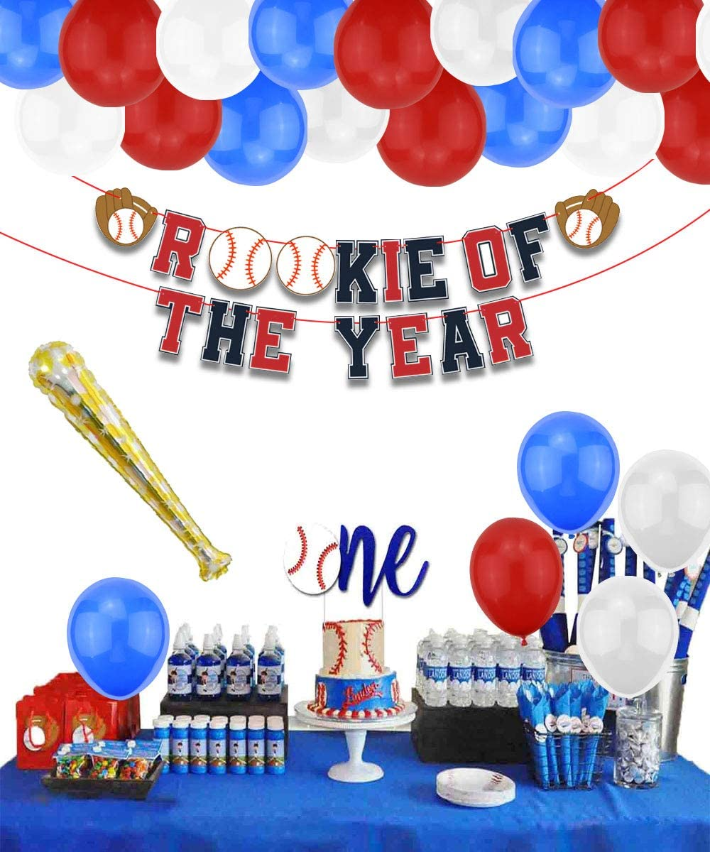 First Year Photo Banner and Balloons Pack of Rookie of The Year Banner LSJDEER Baseball Birthday Party Supplies