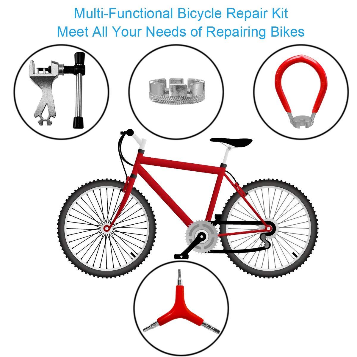 Tockrop 4 Pack Bike Repair Tool Kit Include Bike Spoke Wrench Three-in-One Screwdriver and Chain Repair Tool