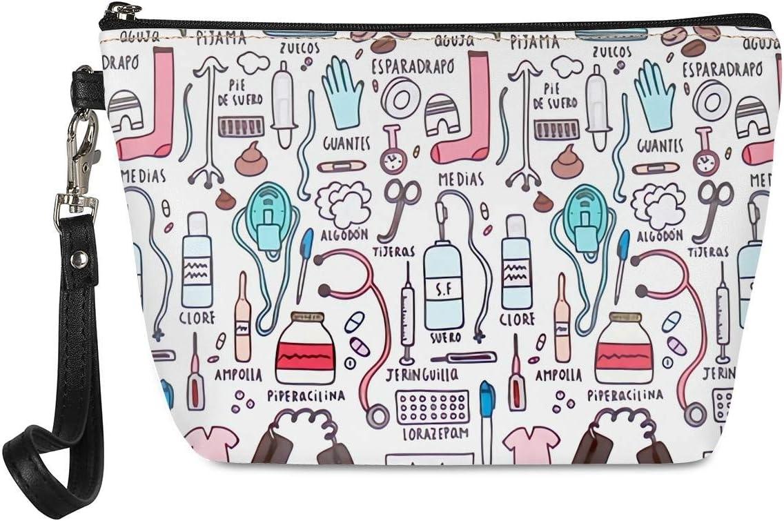 Chaqlin Enfermera Regalo Bolsa de cosméticos de viaje portátil pequeña bolsa de maquillaje Organizador de artículos de tocador para mujer niña PU cuero