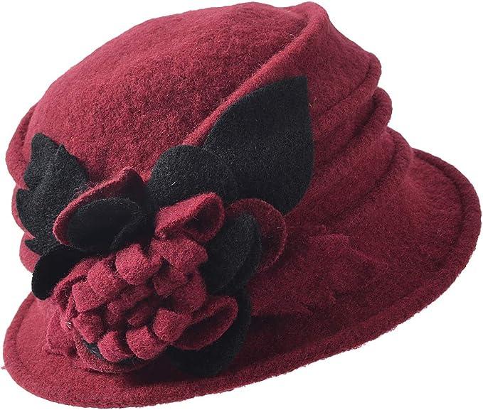 1920s Style Hats FORBUSITE Vintage Women Floral Wool Dress Cloche Winter Hat 1920s $19.99 AT vintagedancer.com