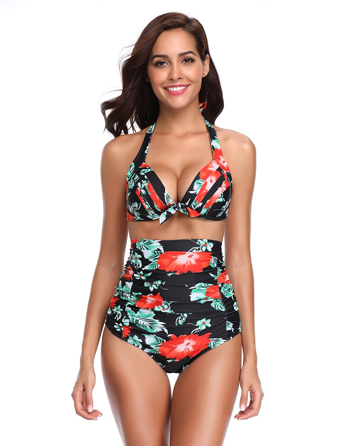 b1f9ae00ea693 HALTER FLORAL BIKINI TOP: Plus size swimsuits for women feature halter neck  and self ties at back for a relaxed fit. Push up bikini top is supportive  enough ...