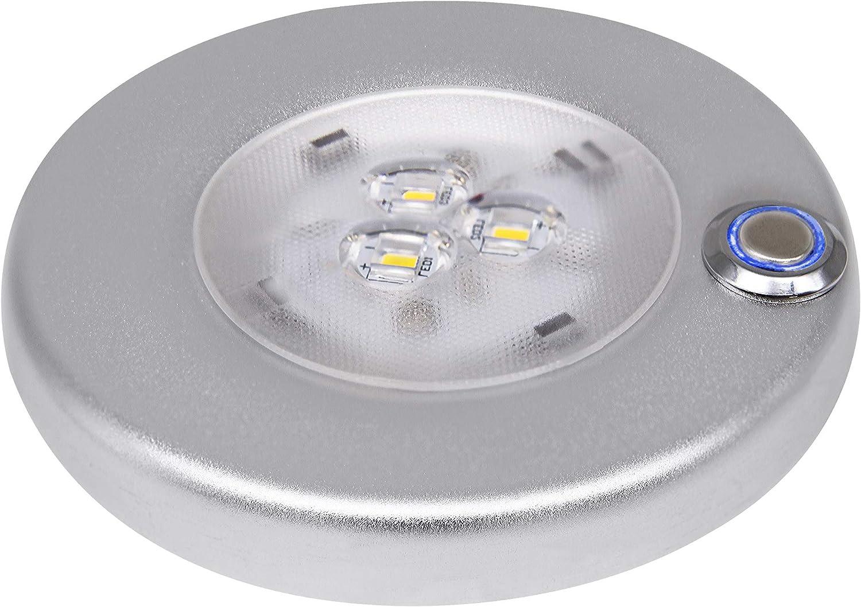 Facon 12 V, 3 W 4 pulgadas luces interiores LED de montaje en superficie con interruptor de encendido / apagado regulable para barco, remolque, caravana, autocaravana (interruptor táctil)