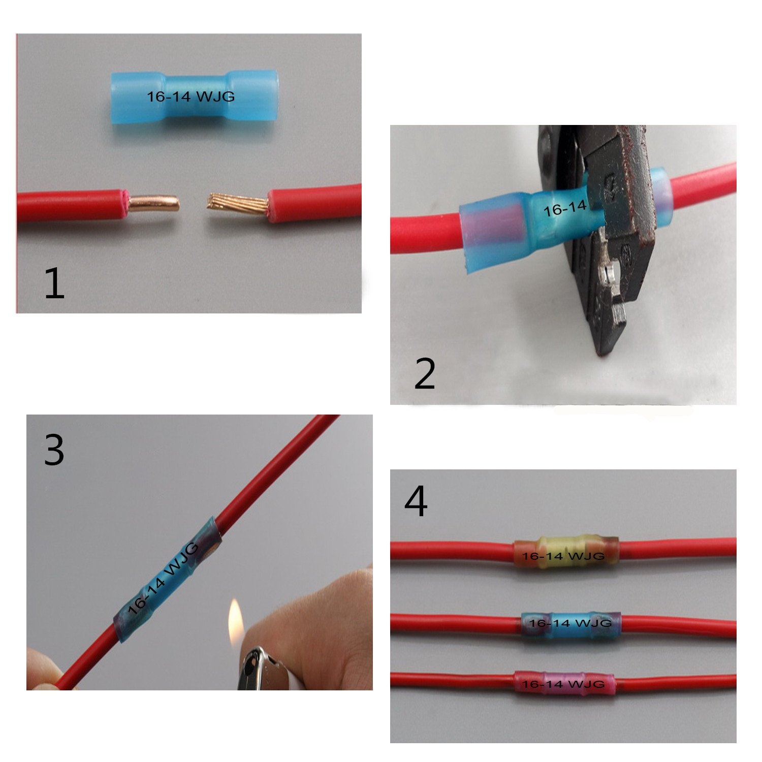 200pcs Heat Shrink Butt Connectors Terminals, Amtake Insulated Wire Electrical Connector, Crimp Butt Splice Terminal Kit(AWG 22-18 16-14 12-10 Gauge)