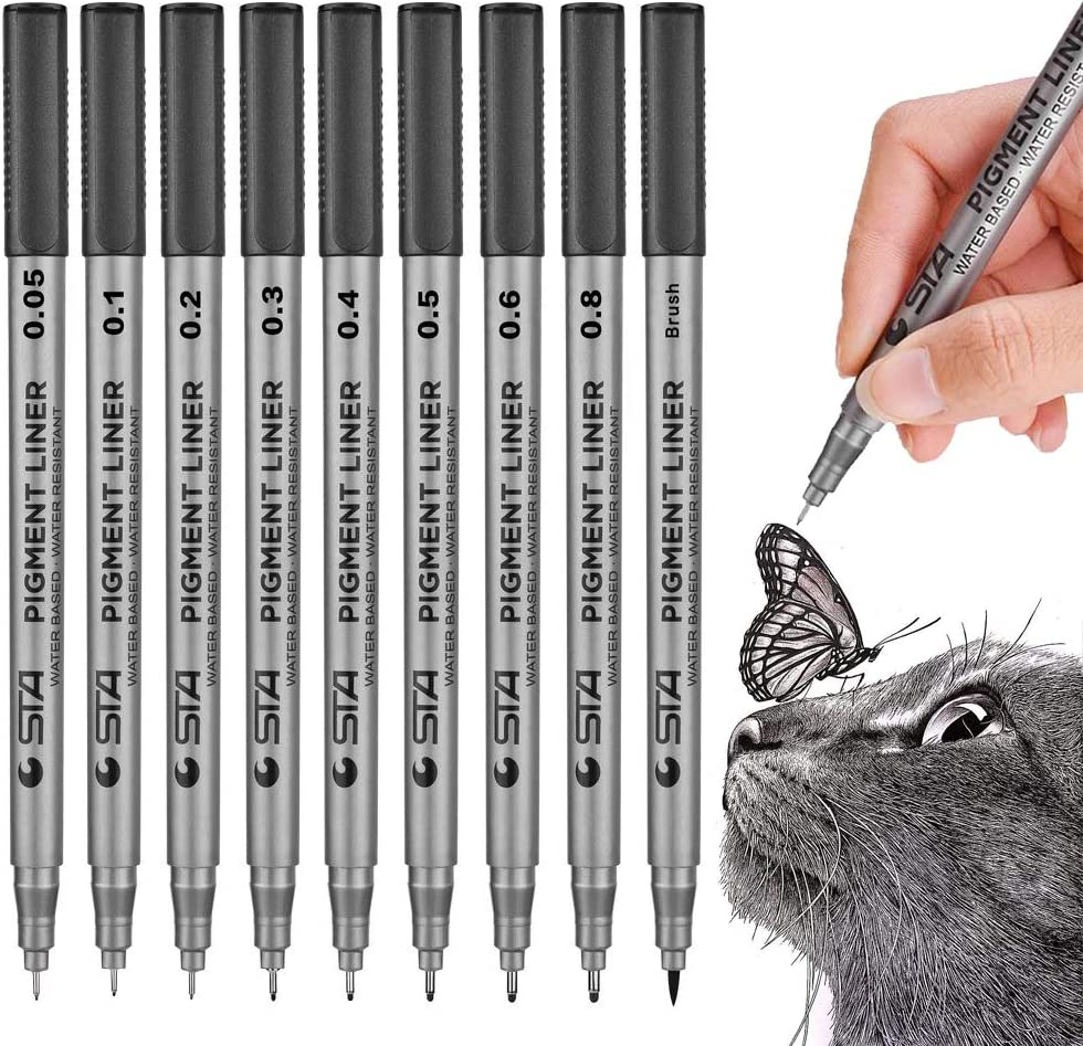 Precision Black Micro-Pen Fineliner Ink Pens, Waterproof Archival Ink Micro-Line Pens, Illustration Pens, Multiliner Pens for Art Watercolor, Sketching, Anime, Manga,