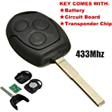 Télécommande Katur à 3boutons, 433,92Mhz avec lame fob pour Ford Focus, Galaxy/C Max/Mondeo/Fiesta