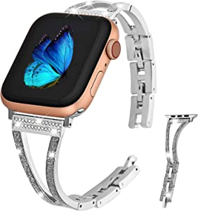Greaciary Jewelry Band Compatible with Apple Watch Band 40mm 38mm,Diamond Luxury Rhinestone Crystal Stainless Metal Replacement Strap for iWatch Band Series 5 4 3 2 1(Silver with Glitter Enamel)
