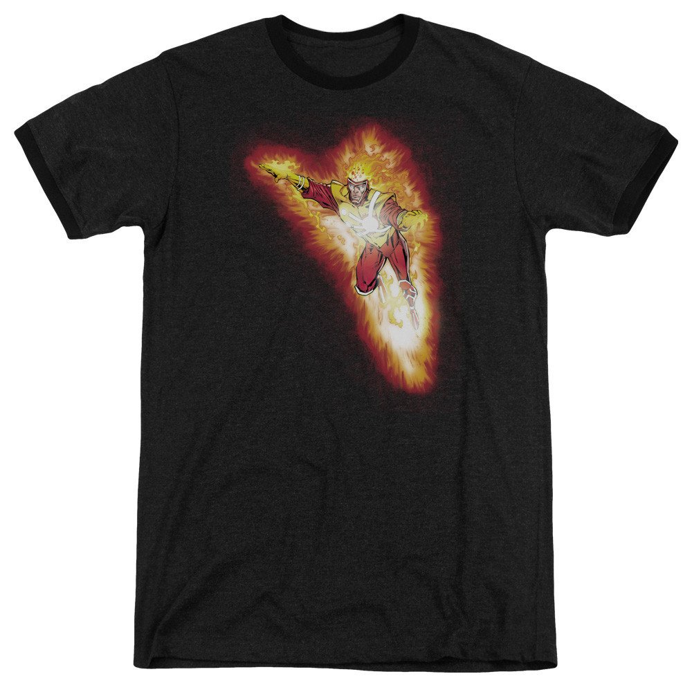 Sons of Gotham JLA Firestorm Blaze Adult Ringer T Shirt L