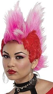 UHC Adult Double Mohawk Punk Rocker 80u0027s Wig Halloween Costume Accessory  sc 1 st  Amazon.com & Amazon.com: DOUBLE MOHAWK WIG BLACK RED BL: Clothing