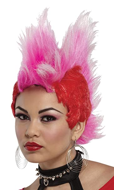 UHC Adult Double Mohawk Punk Rocker 80u0027s Wig Halloween Costume Accessory (Hot Red/Pink  sc 1 st  Amazon.com & Amazon.com: UHC Adult Double Mohawk Punk Rocker 80u0027s Wig Halloween ...