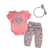 Newborn Baby Girl Clothes Toddler Girl Outfits Ruffle Short Sleeve Rompers Pants Summer Baby Clothes Sets