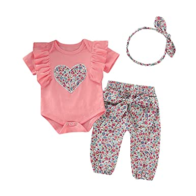 0a564739a1b Newborn Baby Girl Clothes Toddler Girl Outfits Ruffle Short Sleeve Rompers  Pants Summer Baby Clothes Sets