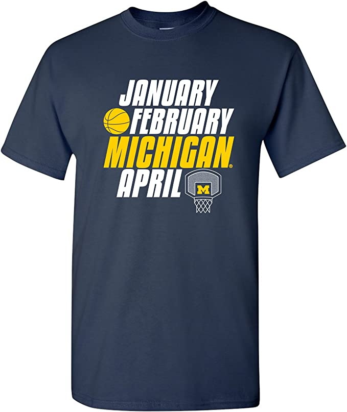 Michigan Wolverines Month of Michigan Basketball, Team Color T Shirt, University